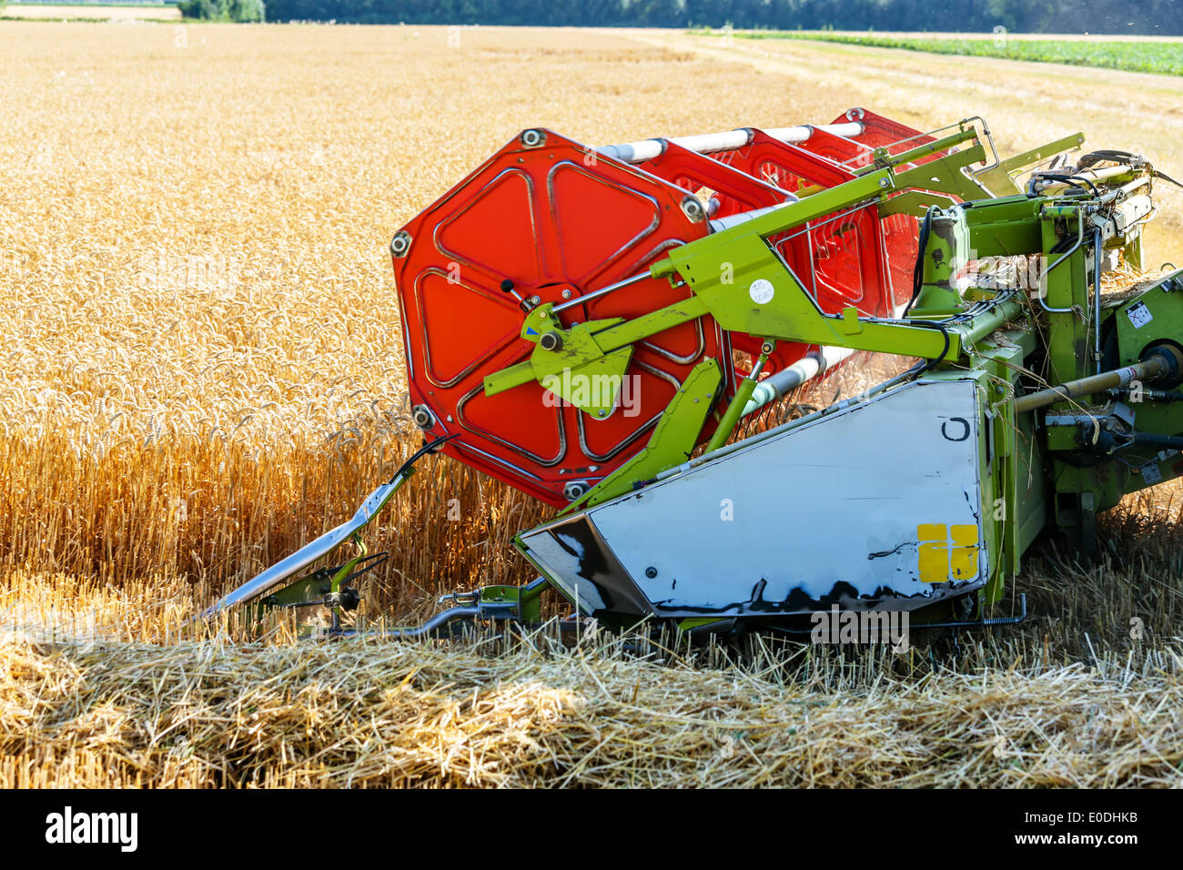 A grain-field with wheat with the harvest. A combine harvester at the work., Ein Getreidefeld mit Weizen bei der Stock Photo