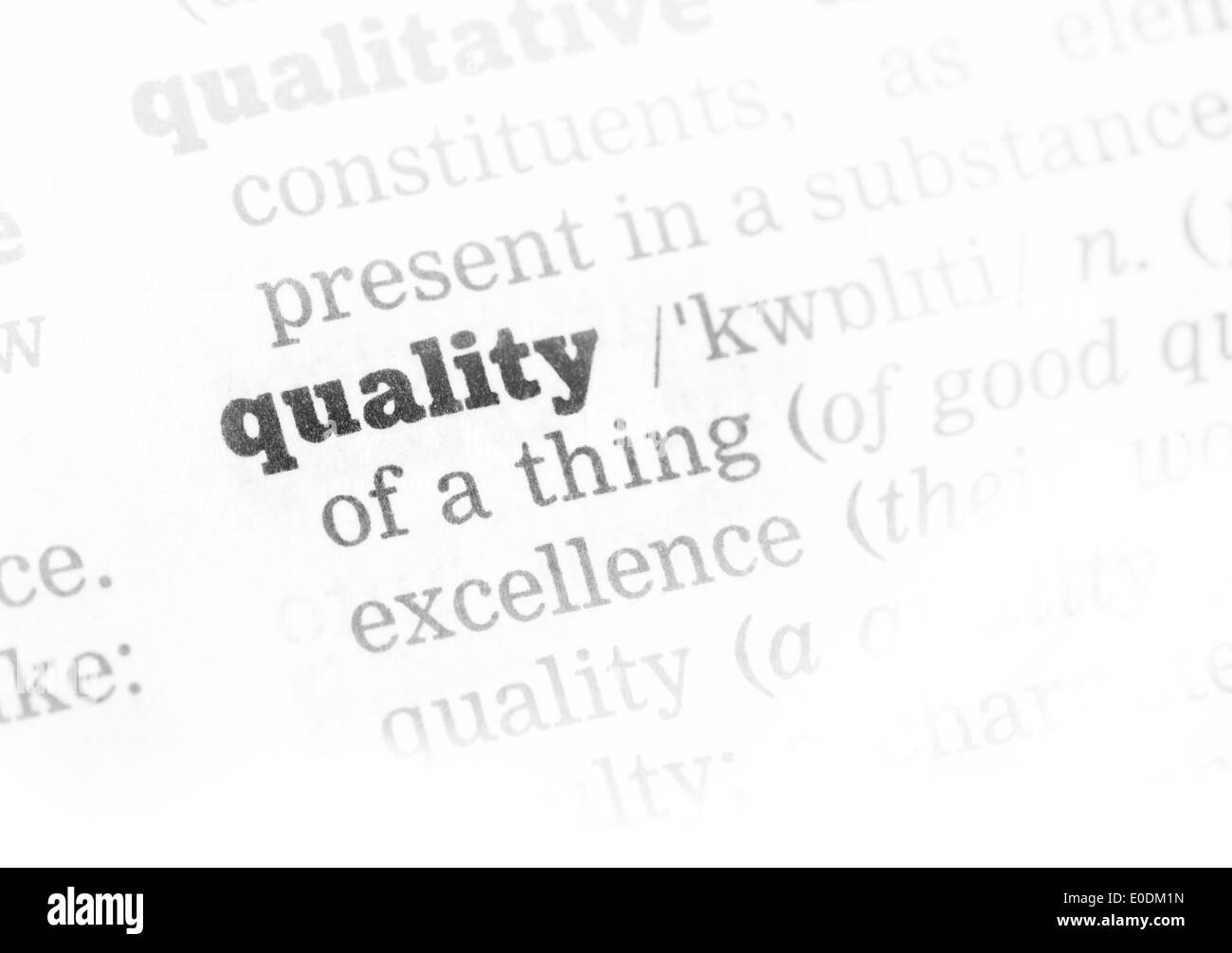 quality dictionary definition single word with soft focus stock