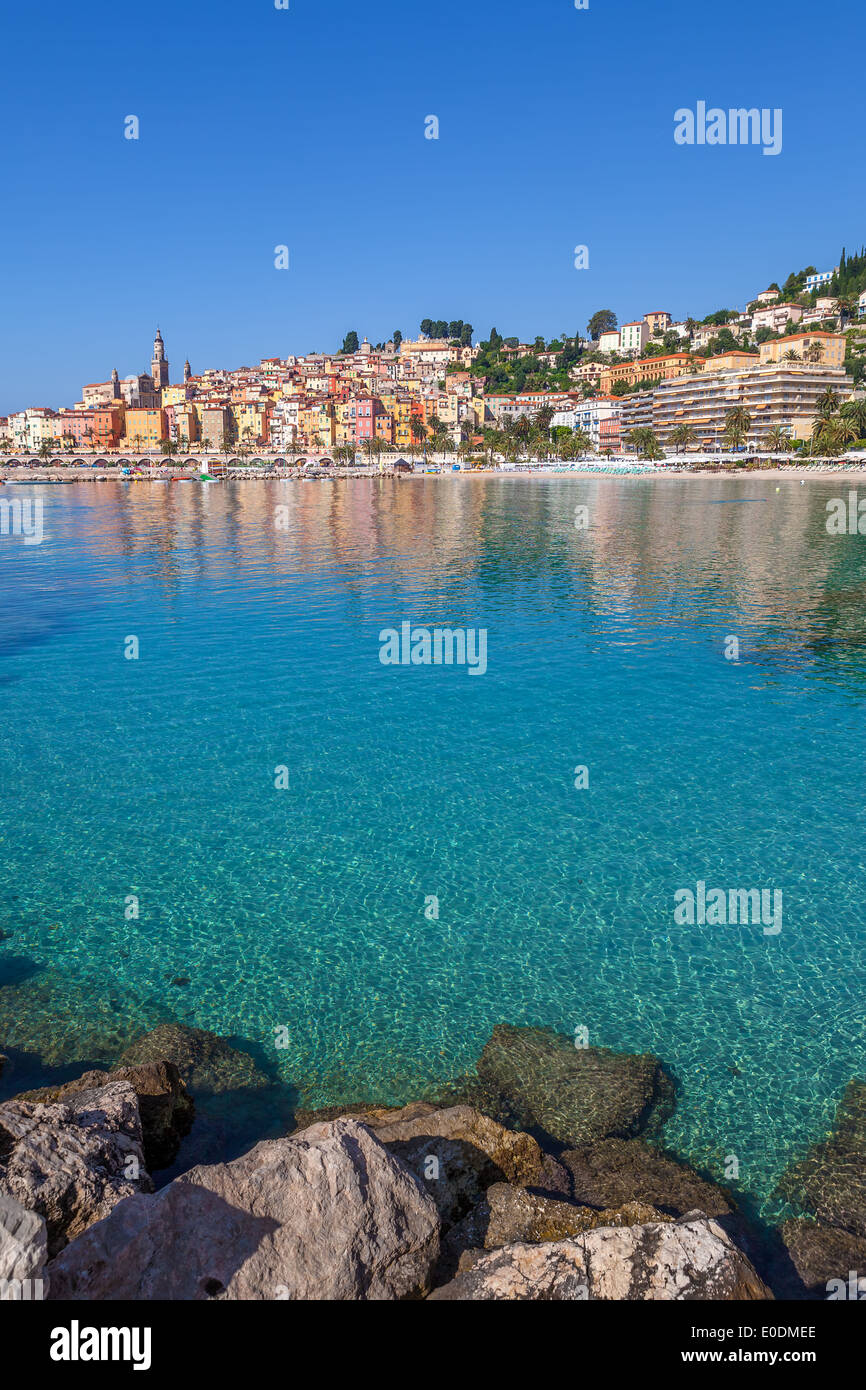 Tourist resort and small town of Menton on Mediterranean sea in France (vertical composition). - Stock Image