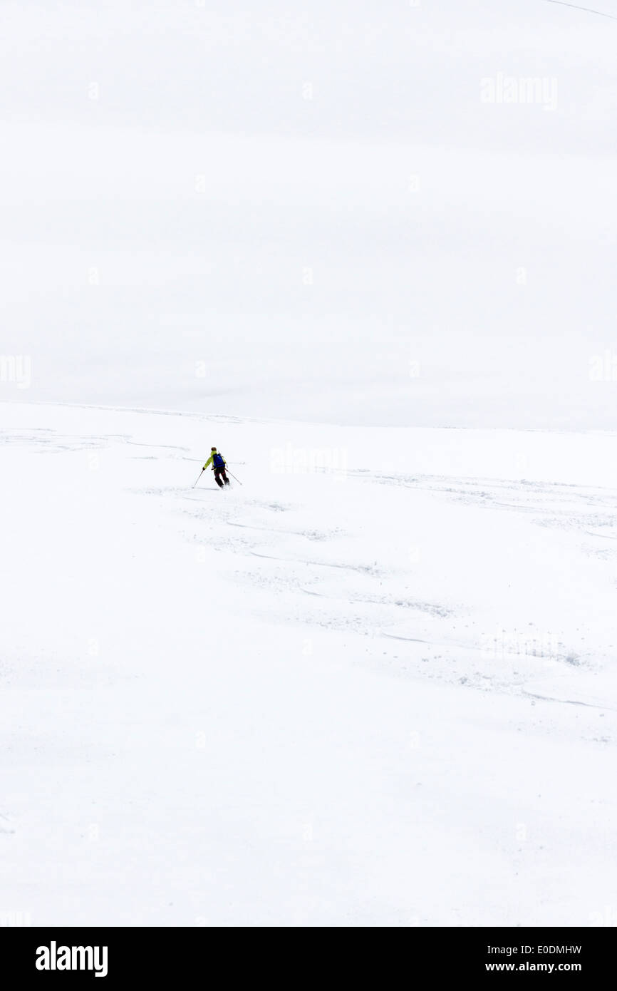La Vallée Blanche, Chamonix Mont Blanc, France - glaciated terrain of this famous off piste ski run - Stock Image