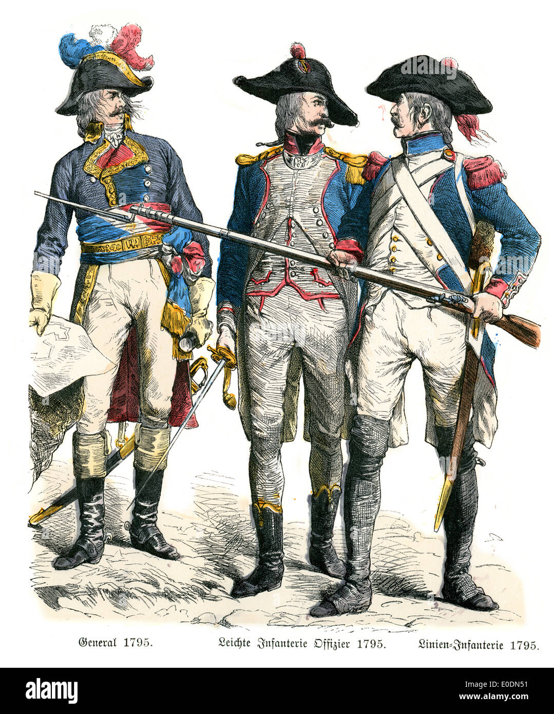 Traditional costumes of France. General, Light Infantry Officer and Line Infantry of the late 18th Century Stock Photo