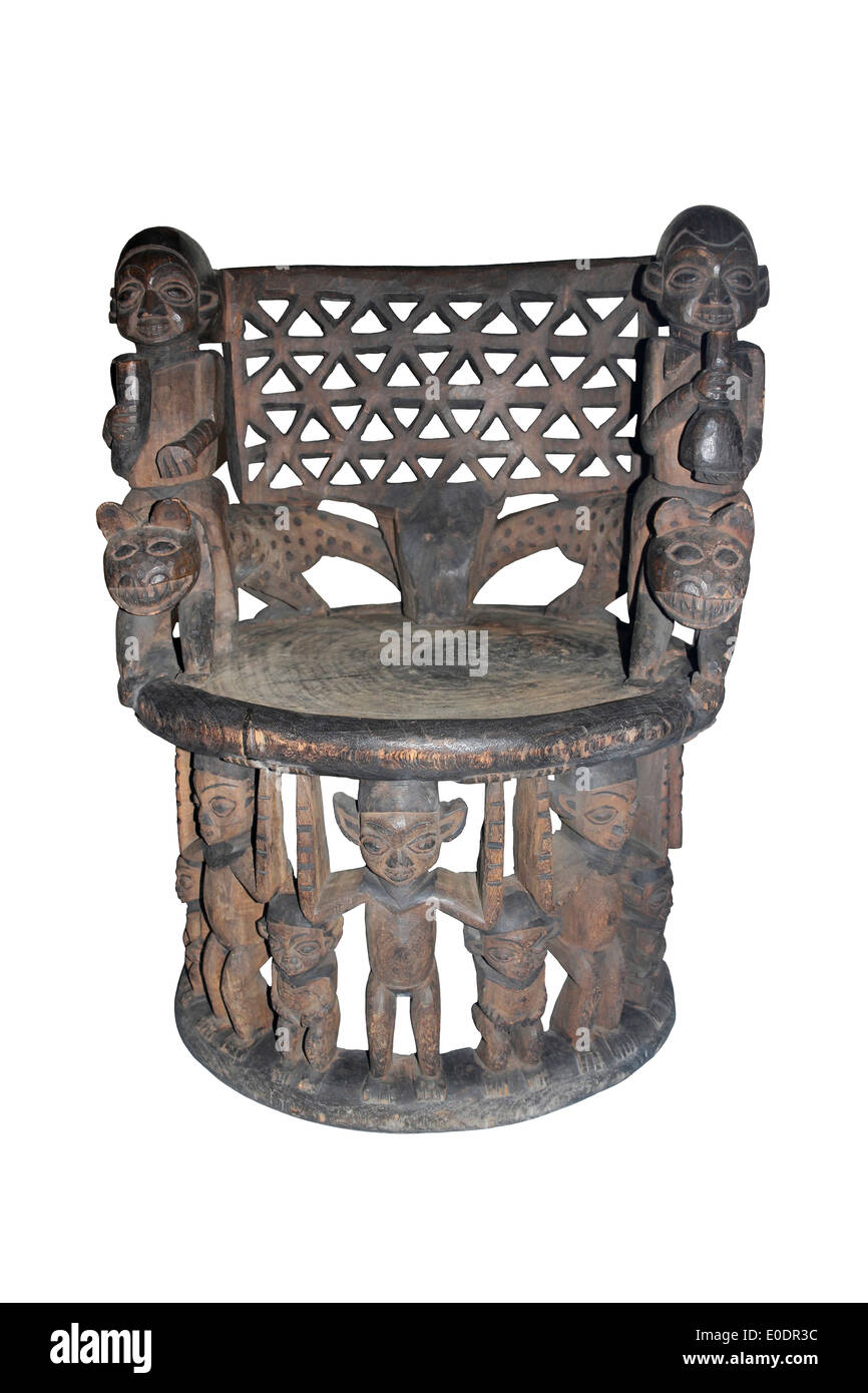 Royal Stool, Bali Kingdom, Grassfields, Cameroon Decorated With Carved Leopards And Human Figures - Stock Image