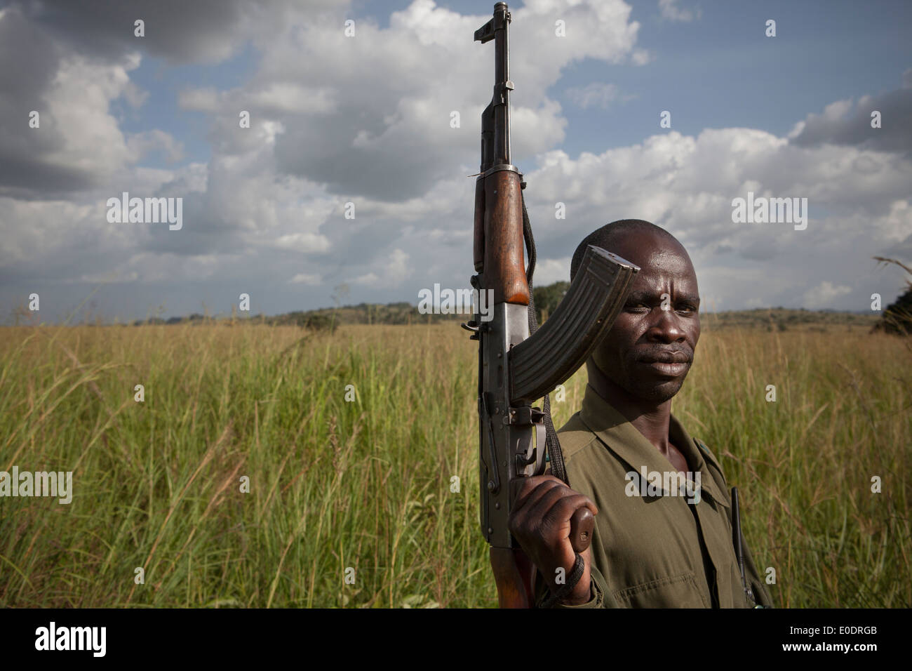 A soldier stands near the South Sudan - Uganda border, Uganda East Africa. - Stock Image