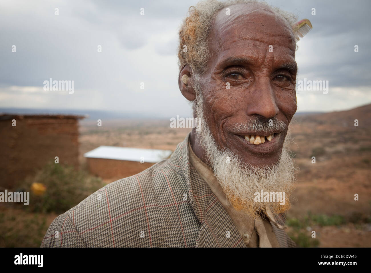 Portrait of a man in Koremi village, near Harar, in the Ethiopian Highlands of Africa. Stock Photo