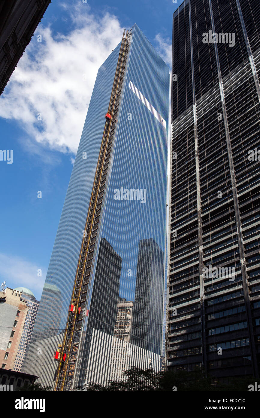 Reconstruction of the World Trade center building, New York - Stock Image