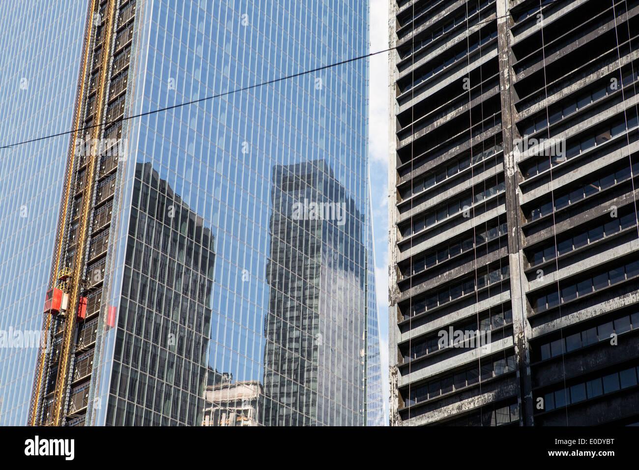 Reconstructioin of the World Trade center building, New York - Stock Image