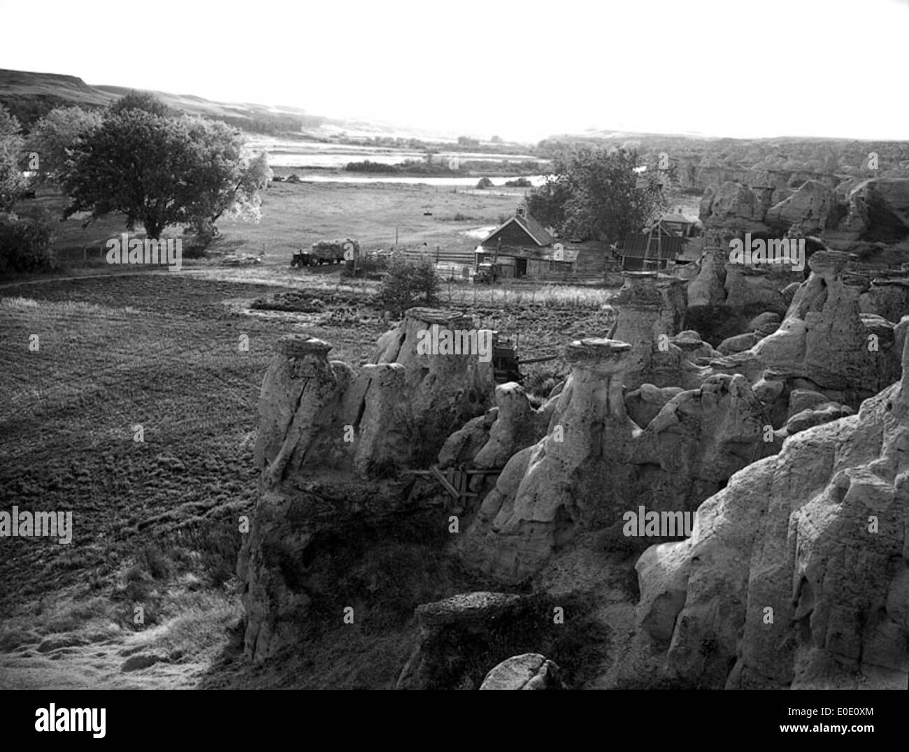 A farmstead at Writing-On-Stone - Stock Image