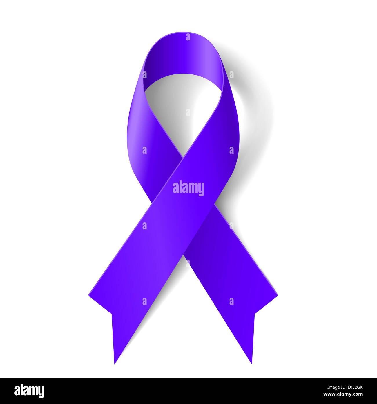 Purple Ribbon As Symbol Of General Cancer Awareness Drug Overdose