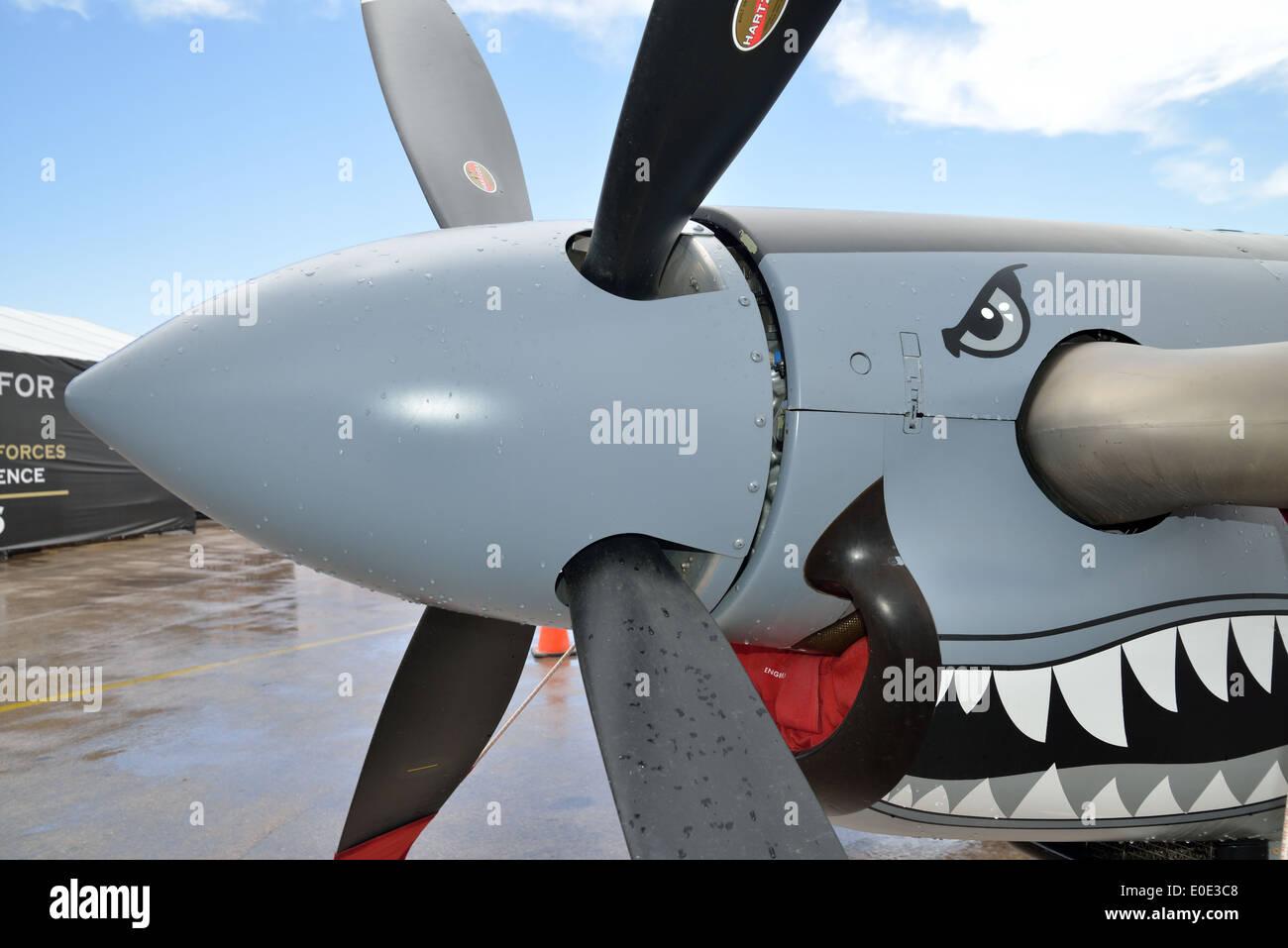 Propeller detail of Pilatus PC-9 M aircraft. Stock Photo