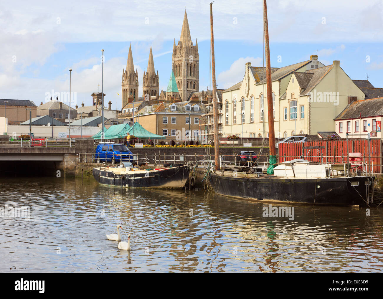 View across River Truro towards the city and three spires of the Cathedral in Truro, Cornwall, England, UK, Great Britain - Stock Image