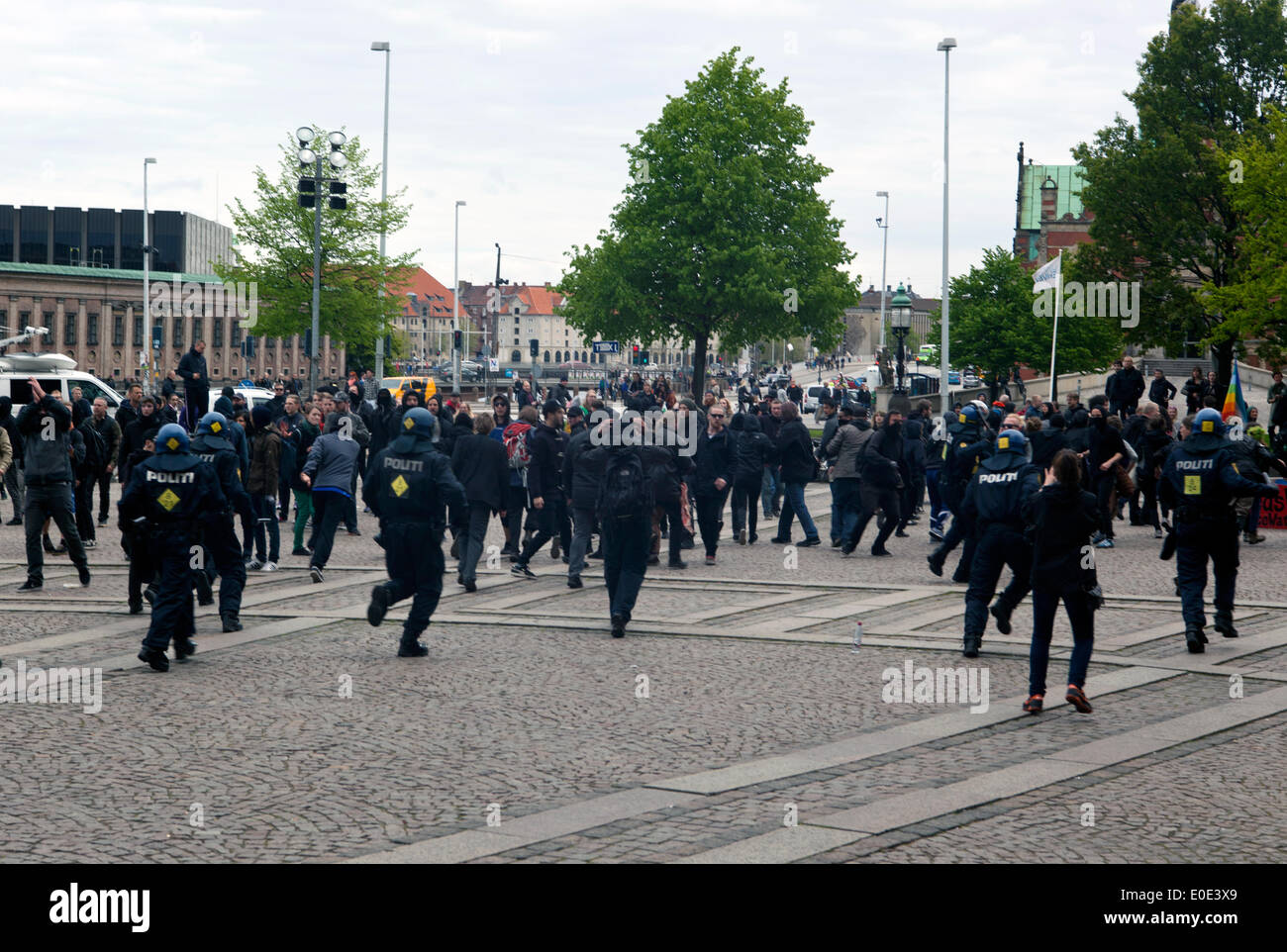 Copenhagen, Denmark. 10th May, 2014. Danish neo-Nazi party  demonstration in front of the parliament under the slogan: Stock Photo