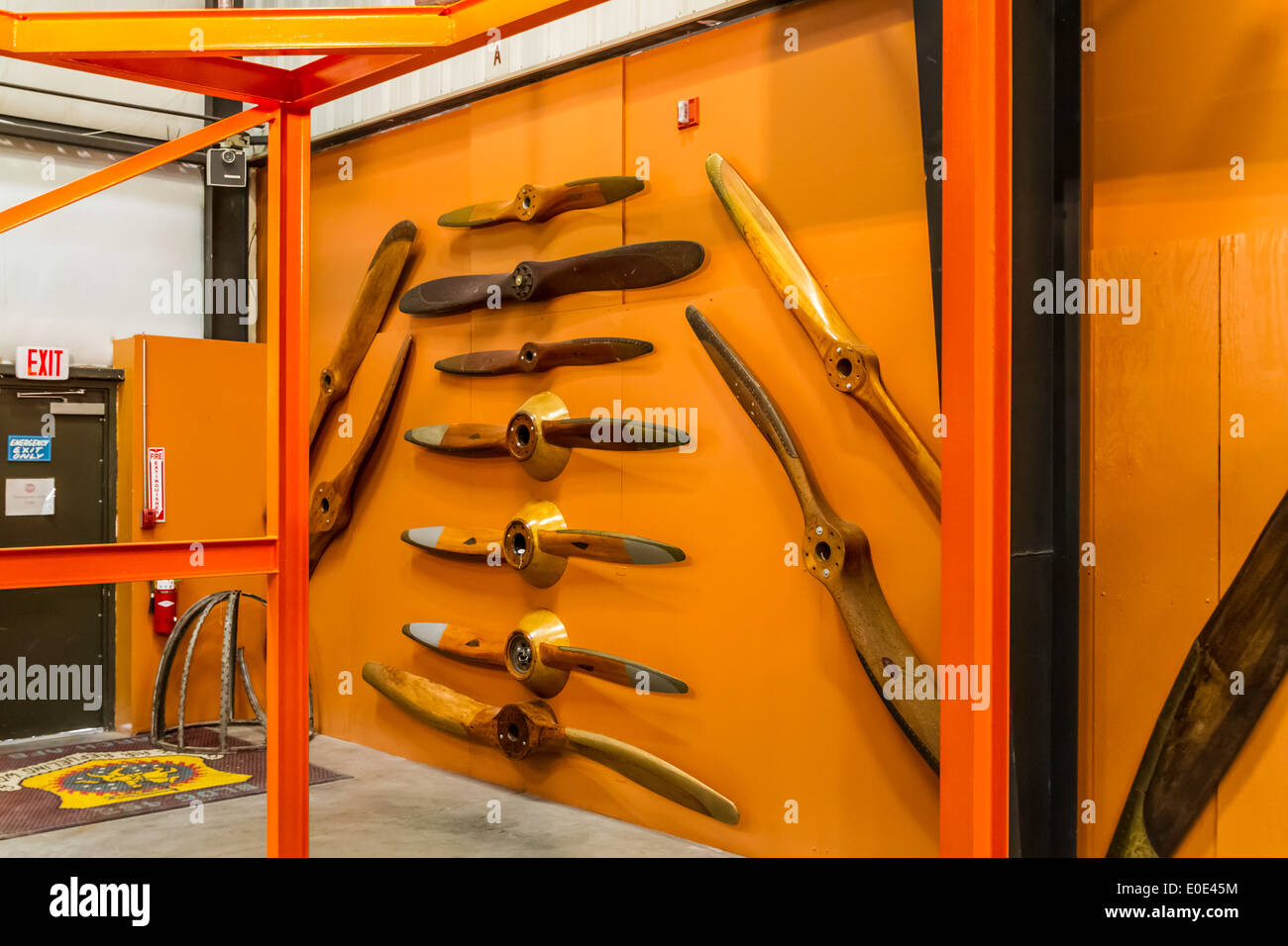 A display of propellers at the March Field Air Museum in riverside California - Stock Image