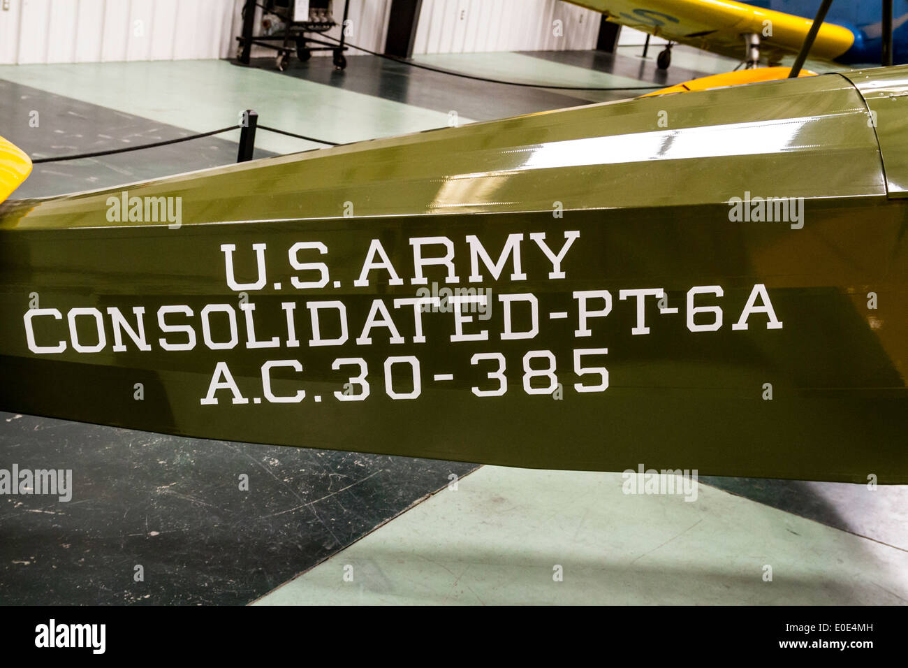 A Consolidated PT-6 A trainer at the March Field Air Museum - Stock Image