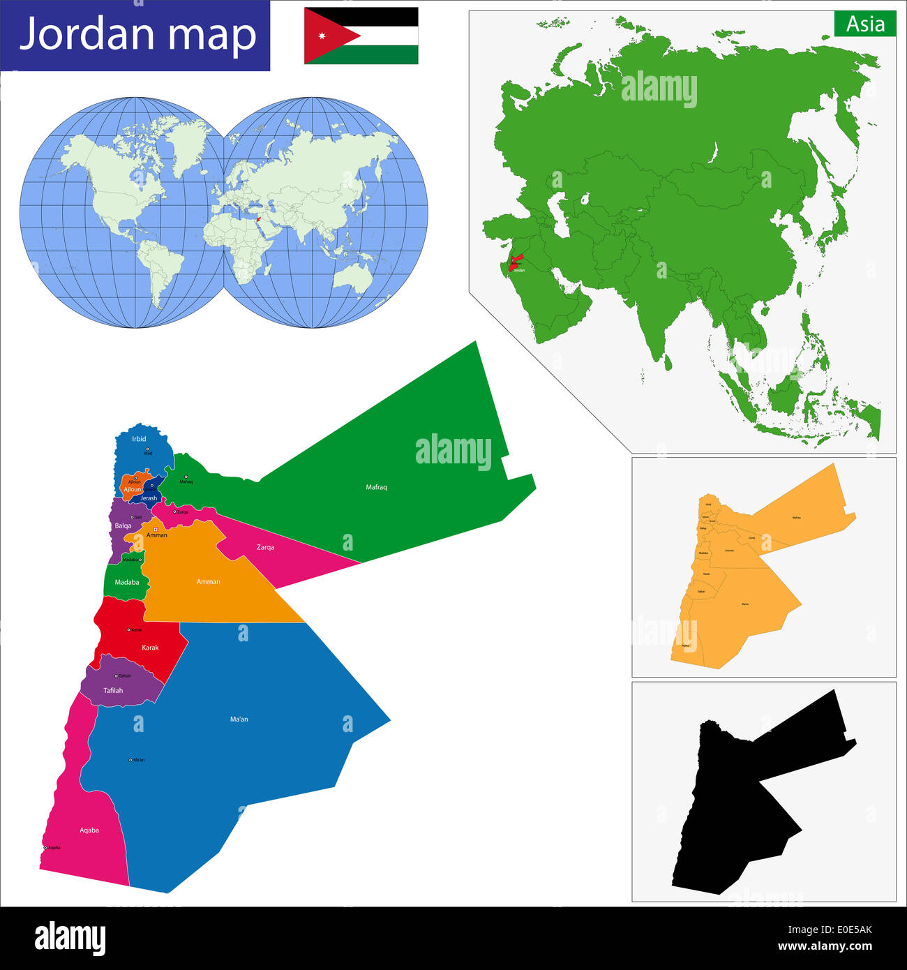 Map of administrative divisions of Jordan Stock Photo 69153019 Alamy