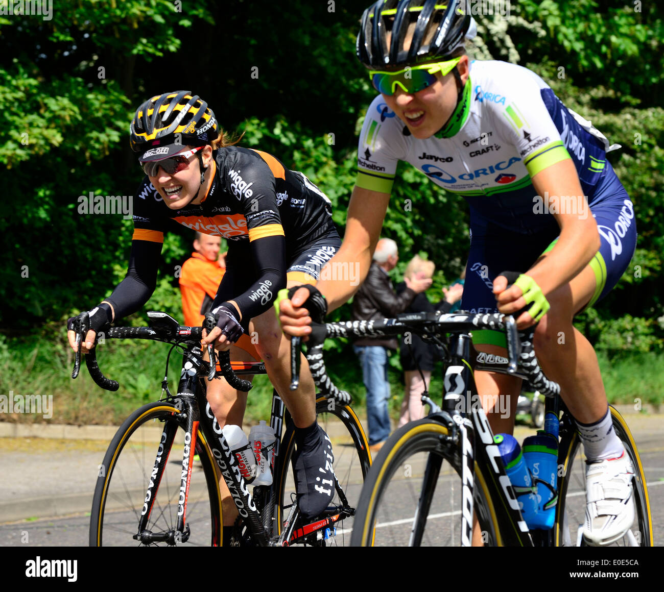 Dani King,Wiggle Honda & Emma Johansson,Orica AIS .Friends Life Women's Tour.Cycle race.Manningtree Essex UK 9/5/14 Stock Photo