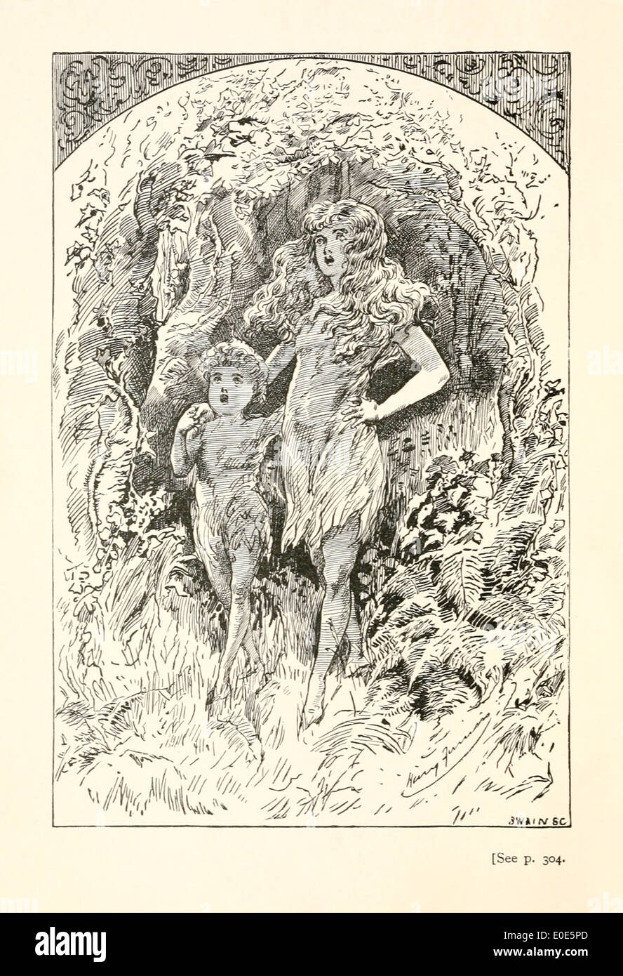 Harry Furniss (1854-1925) illustration from Lewis Carroll's 'Sylvie and Bruno Concluded' published in 1893. Frontispiece - Stock Image