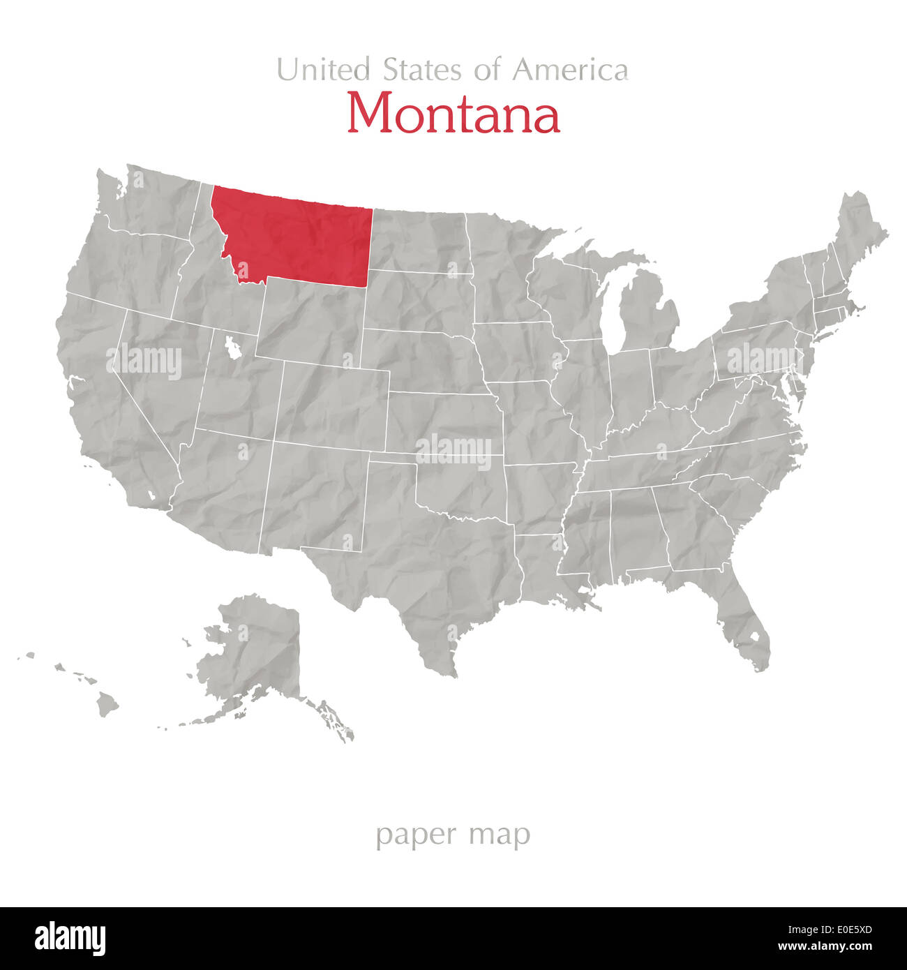 United States of America map and Montana territory isolated on white