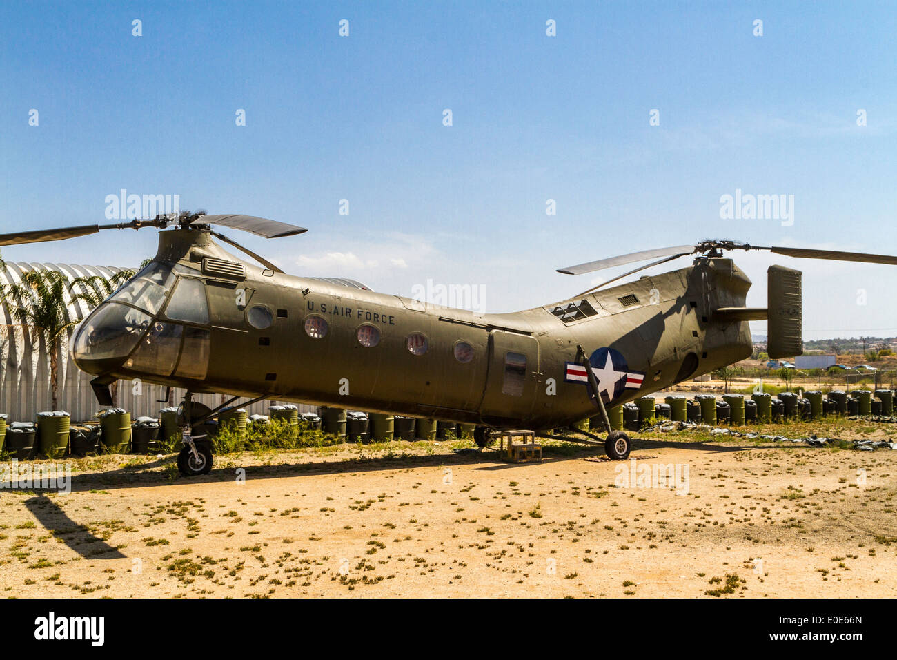 A Piasecki H-21 B Workhorse at the March Field Air Museum in Riverside California - Stock Image