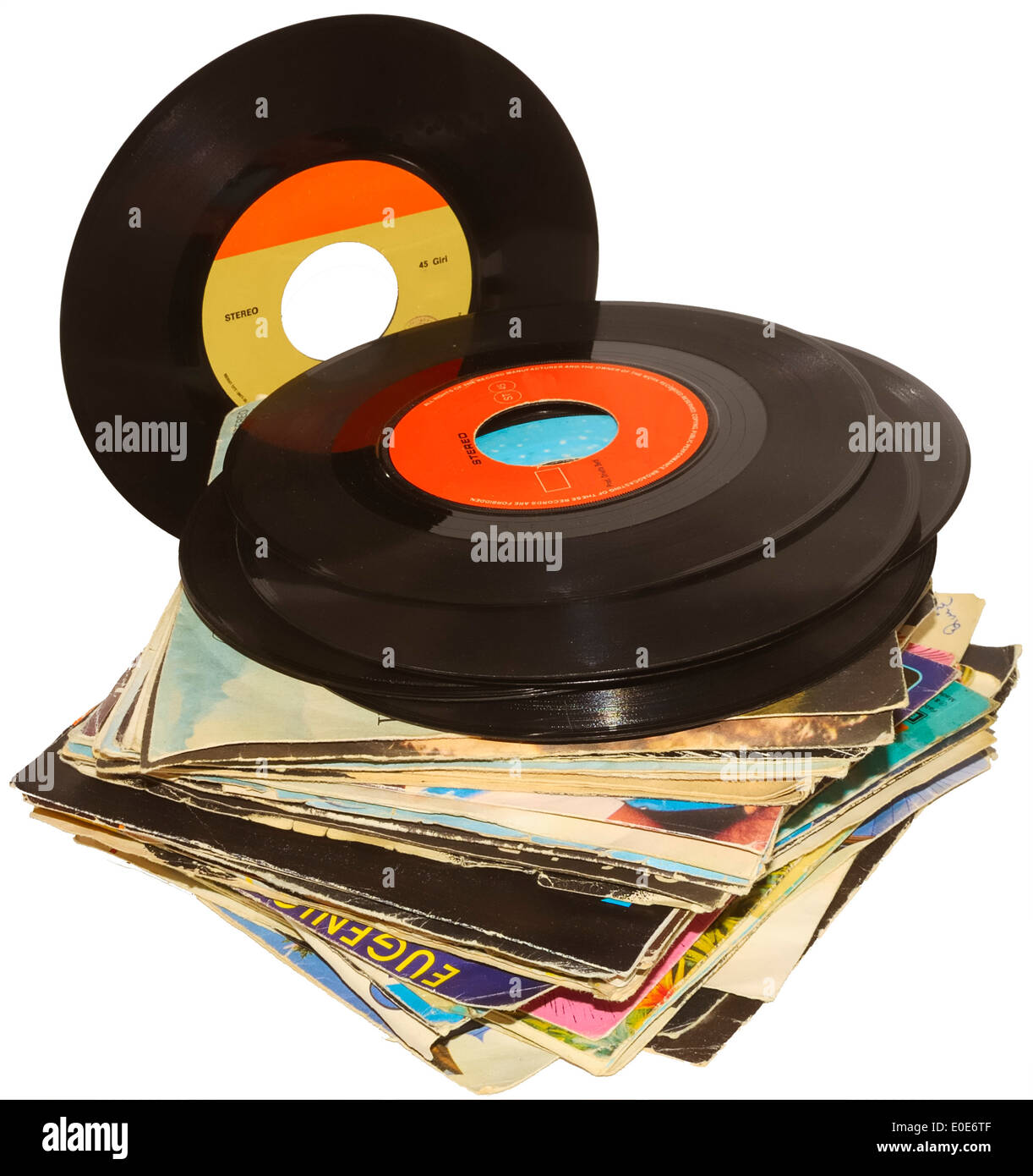 A pile of 45 RPM vinyl records used and dirty even if in good condition - Stock Image