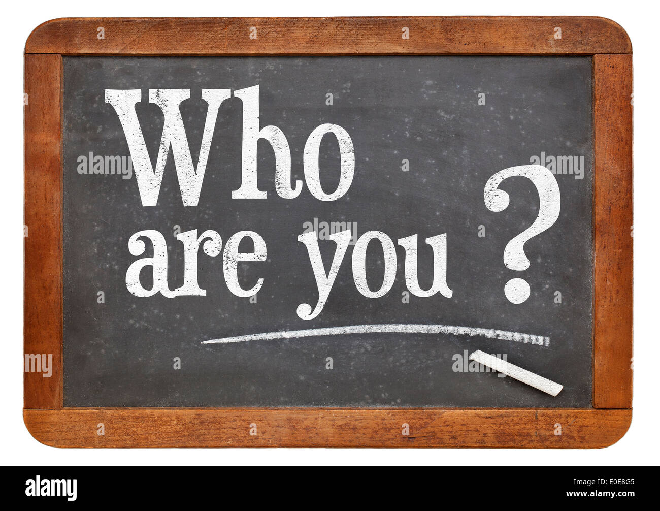 Who are you question on a vintage blackboard isolated on white - Stock Image