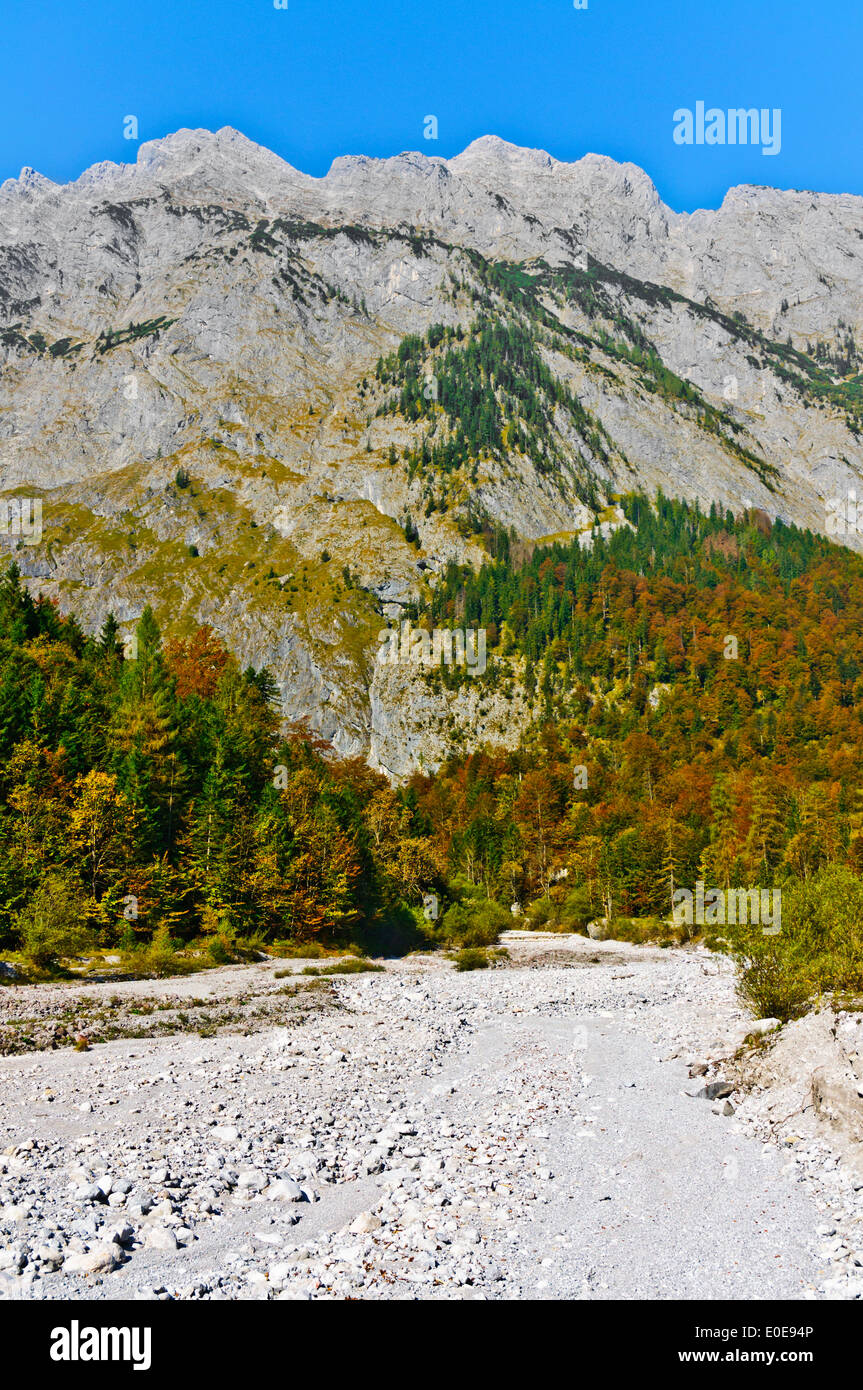 Watzmann massif on the Koenigssee in the Berchtesgaden region in South Germany valley of Eisbach - Stock Image