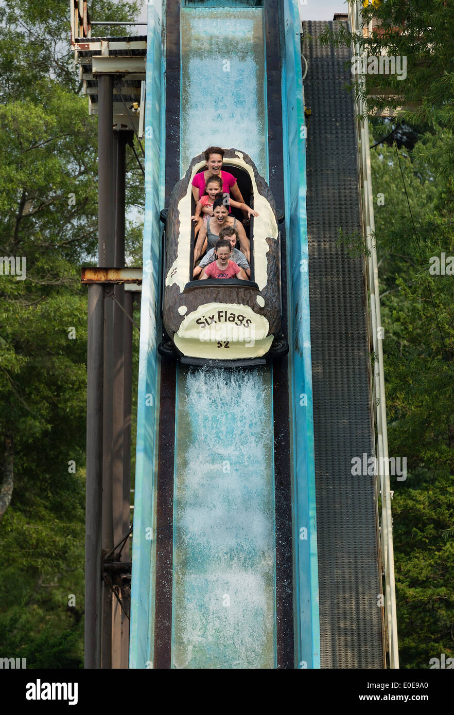 Saw Mill Log Flume, Great Adventure, Six Flags, New Jersey, USA - Stock Image