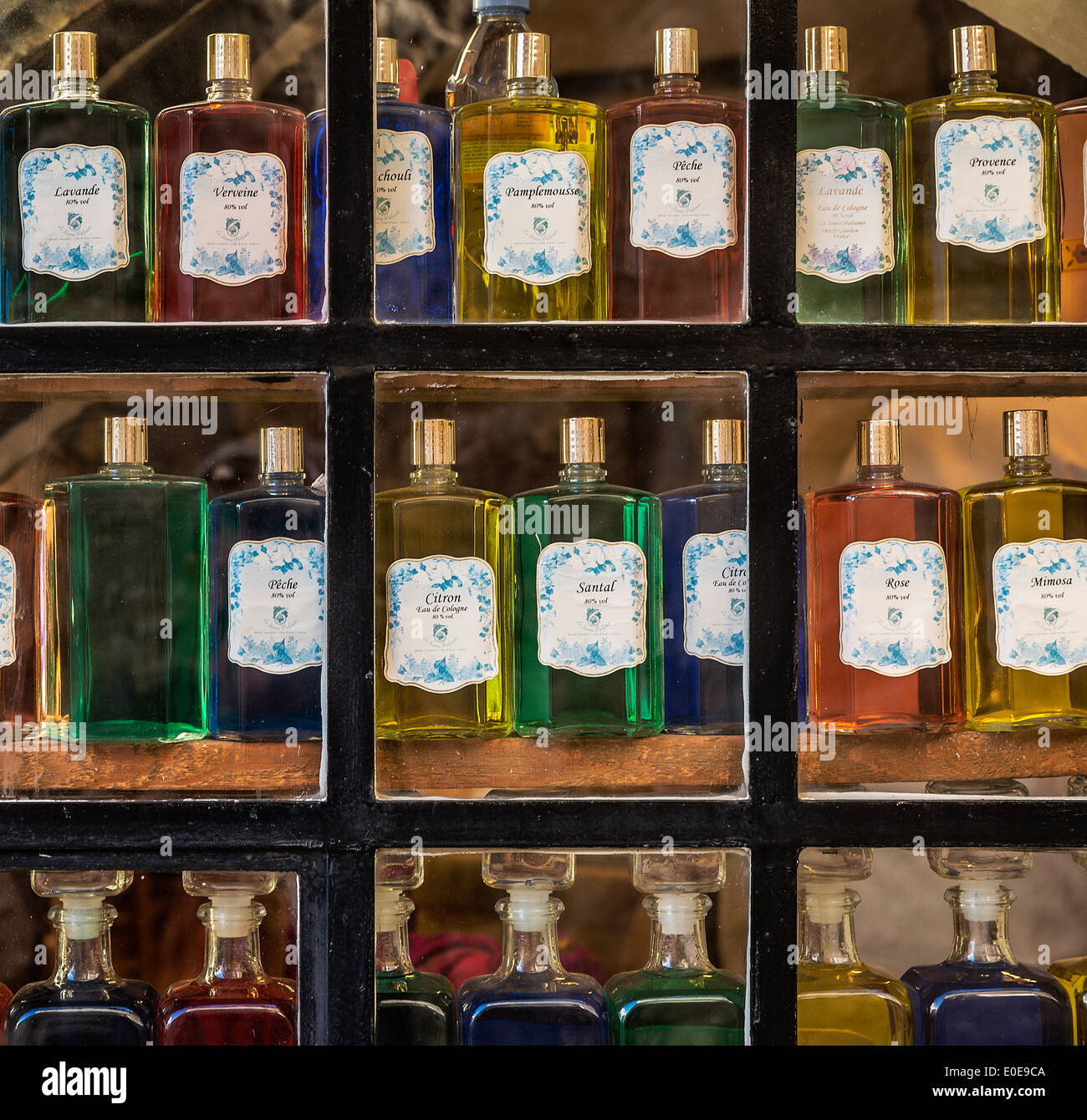 Fragrance compound in a perfumery shop, Gordon, Provence, France - Stock Image