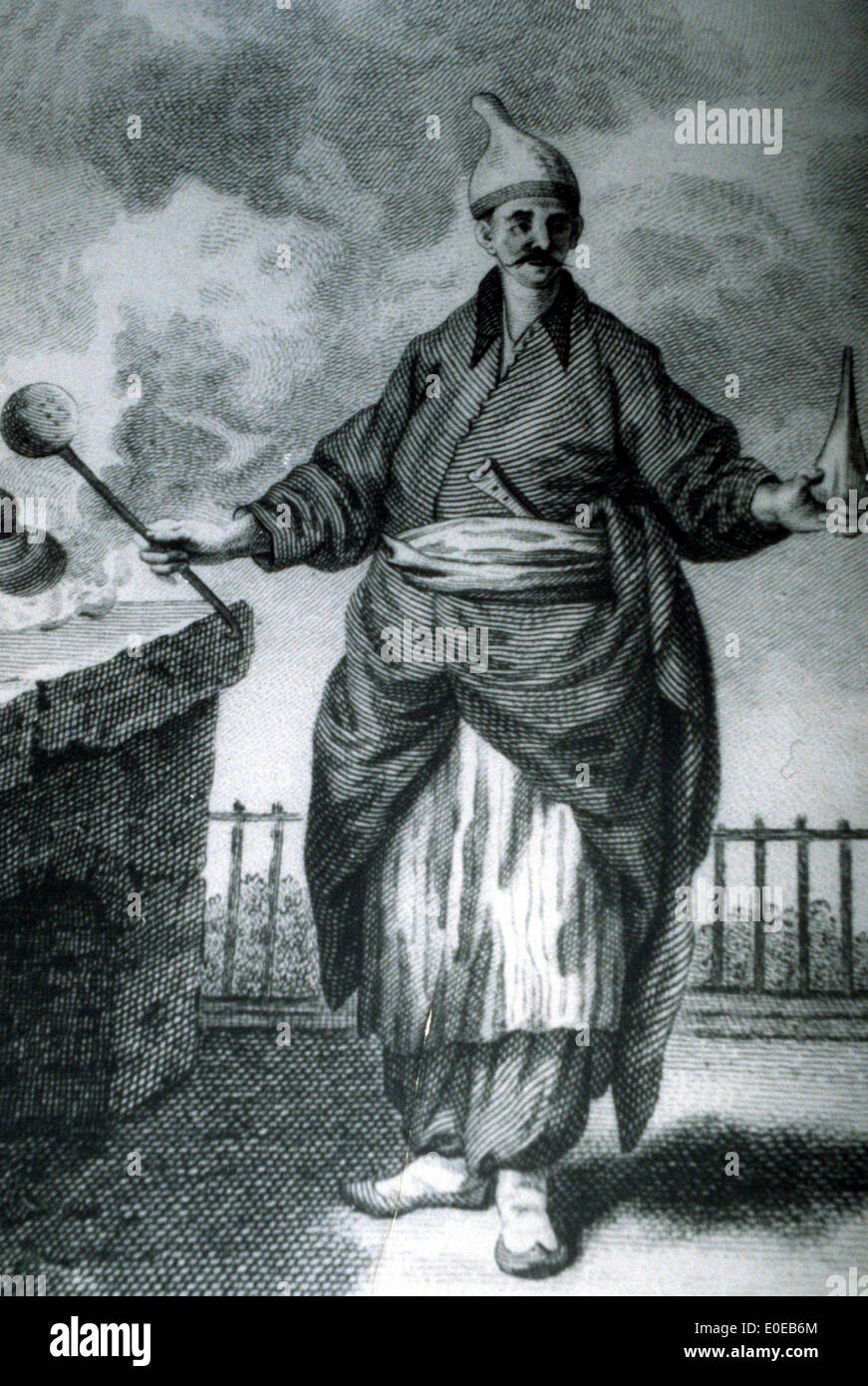 Lithograph of an Ottoman chef in the kitchen of the Topkapi Palace - Stock Image