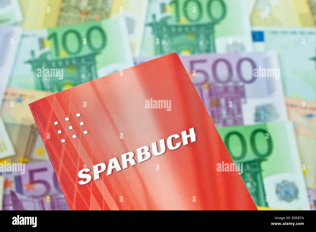 A lot of euro of bank notes with savings book, Viele Euro Geldscheine mit Sparbuch Stock Photo