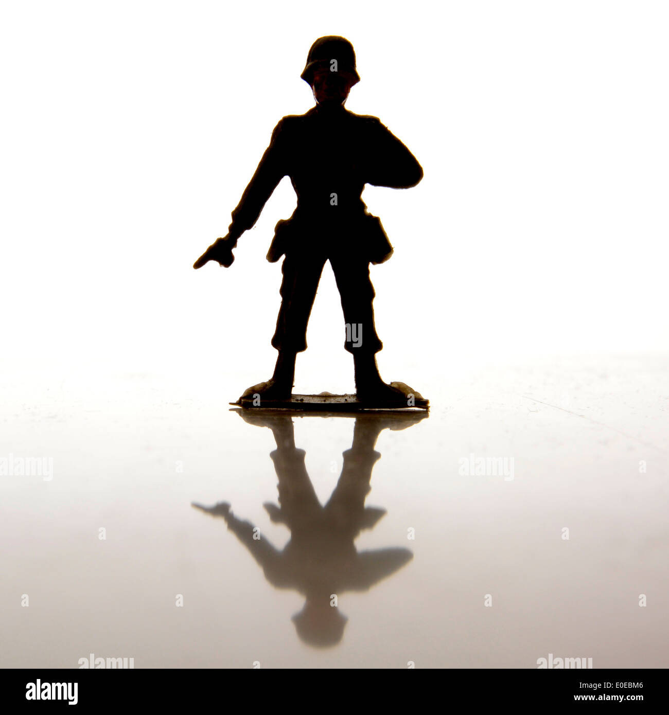 Toy soldier silhouette - Stock Image