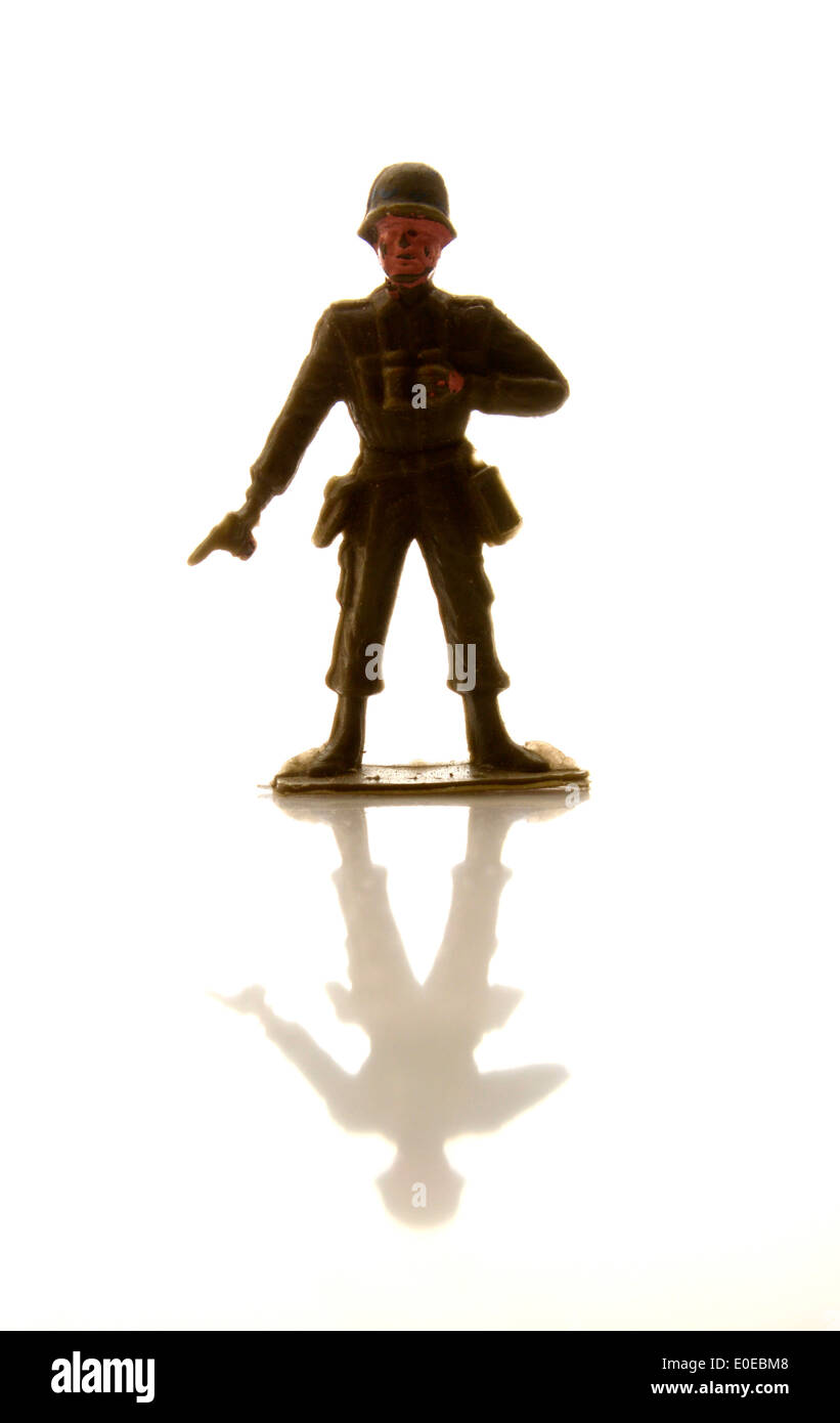 Soldier figurine.childhood, front view, full-length, human representation - Stock Image