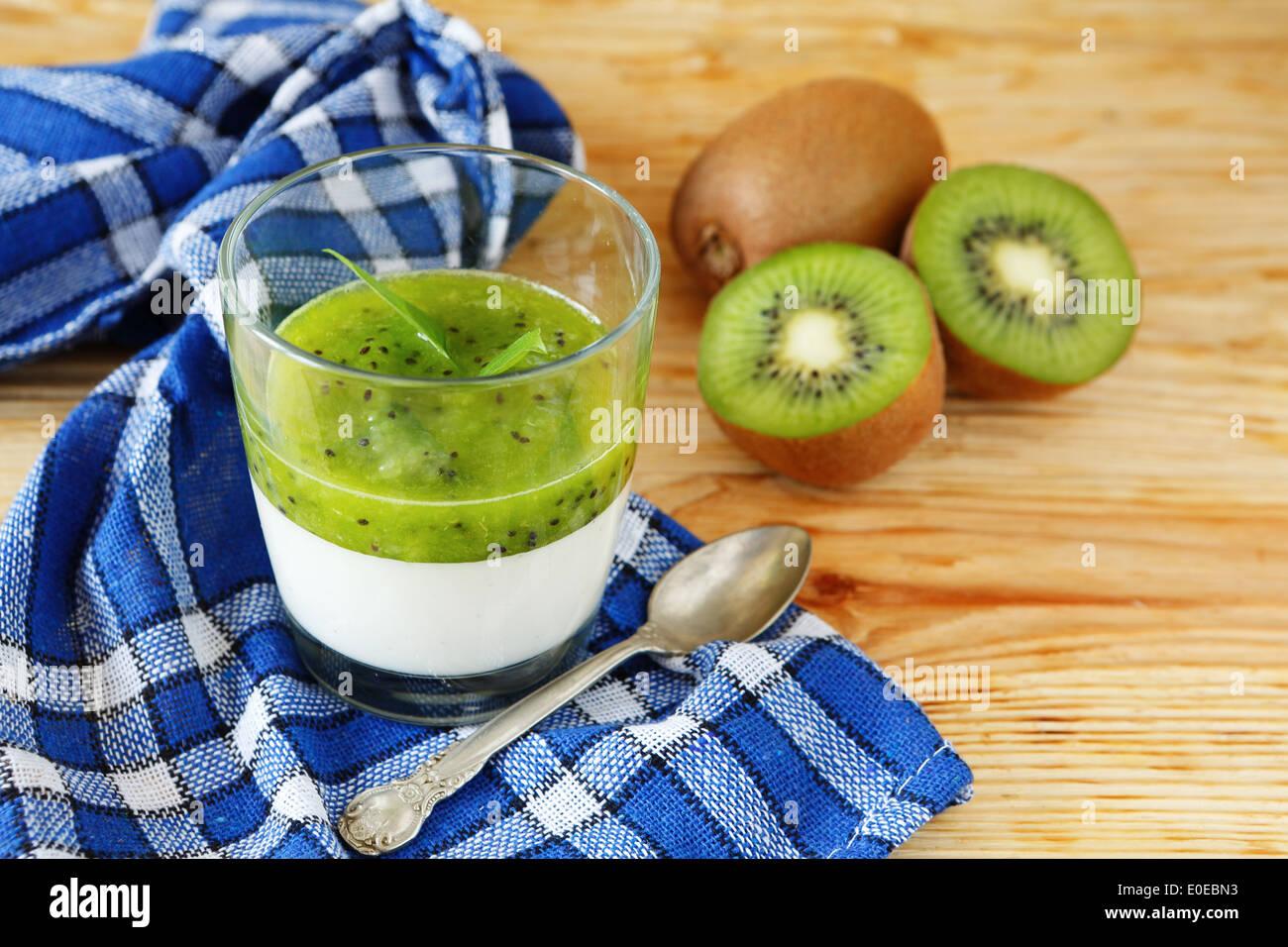 panna cotta with kiwi, food closeup - Stock Image