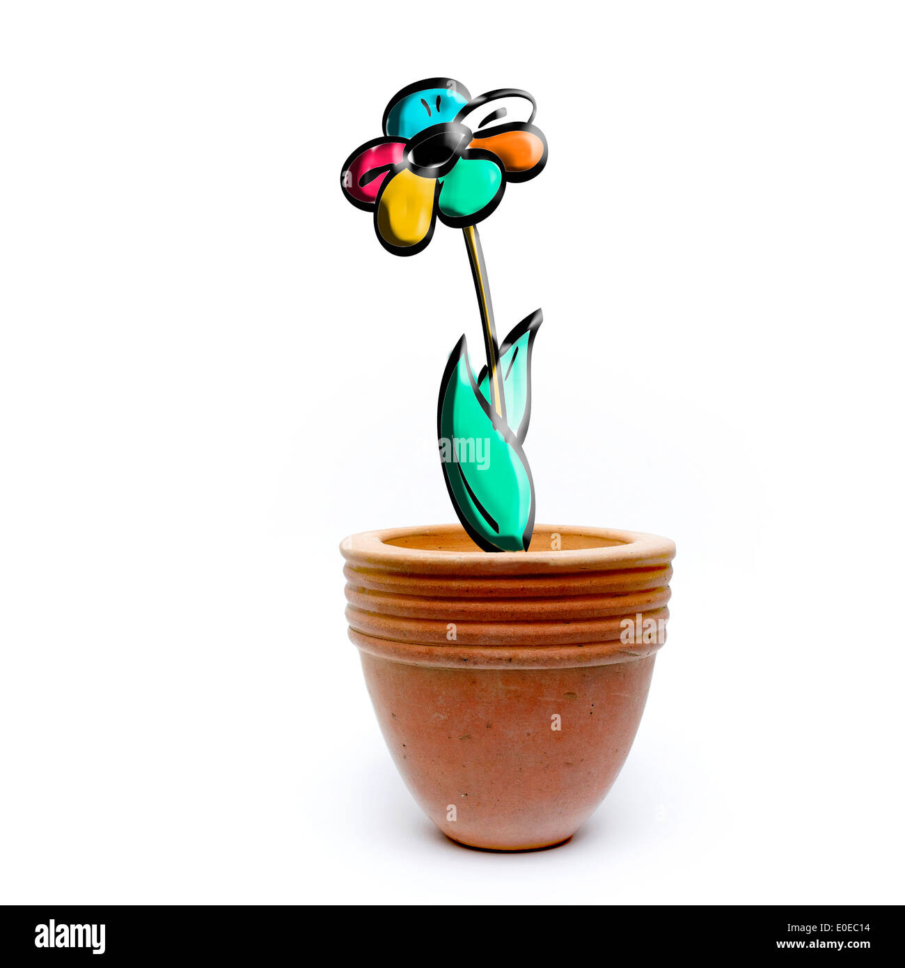 Flower in a plant pot, concept - Stock Image