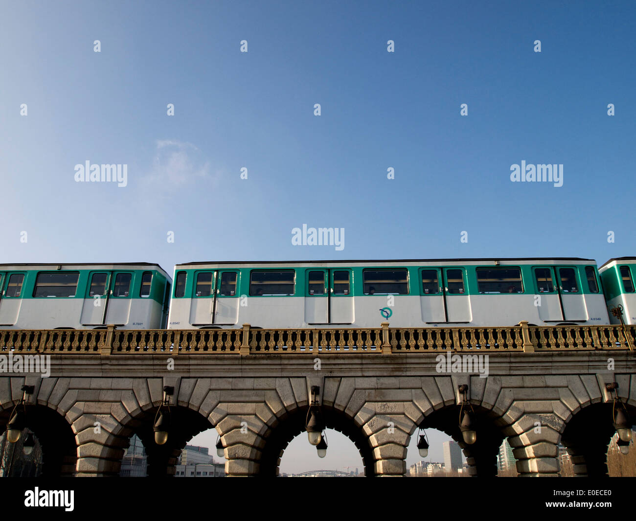 Paris subway train overground crossing a bridge - Stock Image