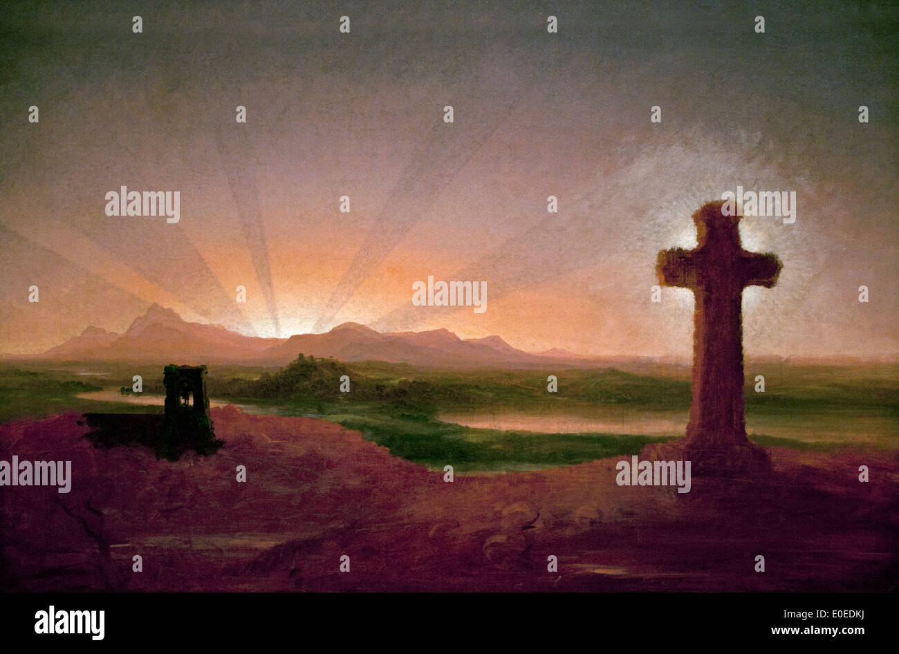 Thomas Cole 1801-1848 Cross at Sunset 1848  American United States of America USA - Stock Image