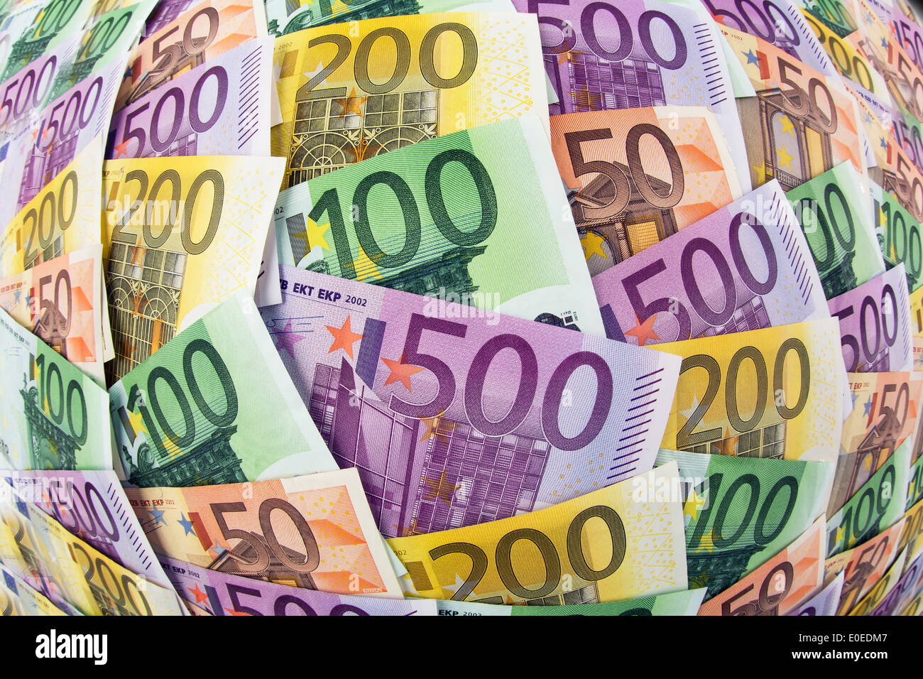A lot of different euro of bank notes. Symbolic photo for wealth and investment, Viele verschiedene Euro Geldscheine. Stock Photo