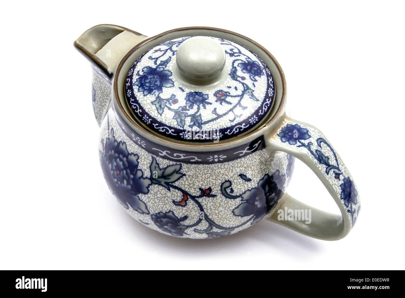 Chinese tea pot isolated on white background - Stock Image