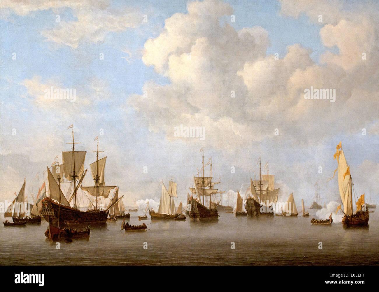 he Dutch Fleet in the Goeree Roads  1672-73 Willem van de Velde II 1633-1707 - Stock Image