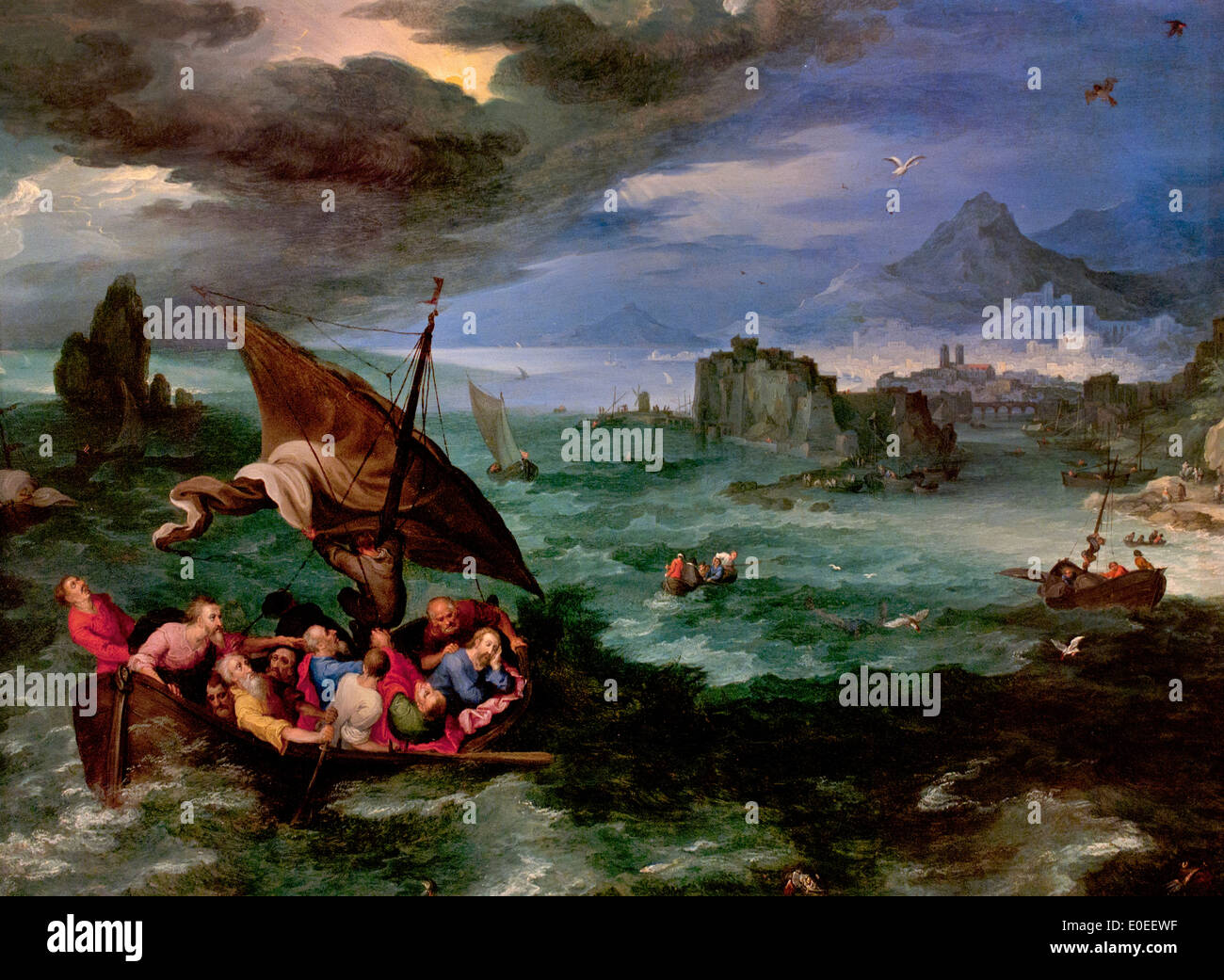 Storm on the sea of galilee stock photos storm on the sea of christ in the storm on the sea of galilee jan brueghel the elder 1568 publicscrutiny Choice Image
