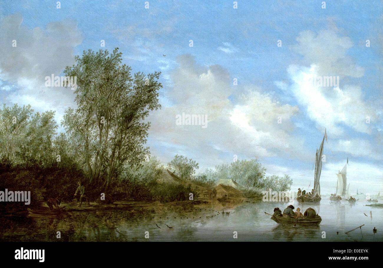 A River with Fishermen 1645 Salomon Jacobsz. van Ruysdael 1600-1670 - Stock Image
