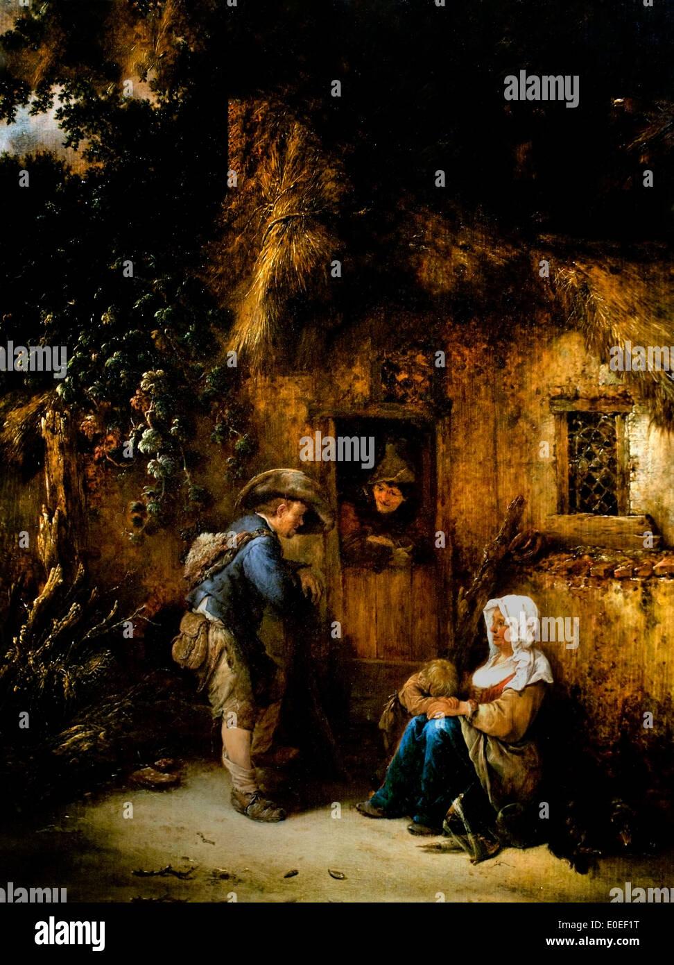 Traveller at a Cottage Door 1649 Isack van Ostade  1621-1649 Dutch Netherlands - Stock Image