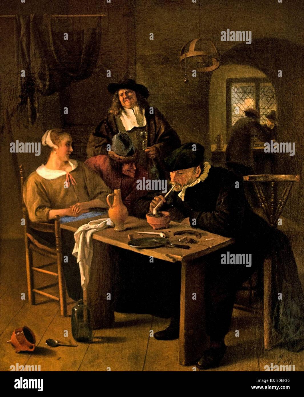 Tavern Scene 1661-1665 Jby Jan Havicksz ( Havickszoon ) Steen 1626 - 1679  Dutch
