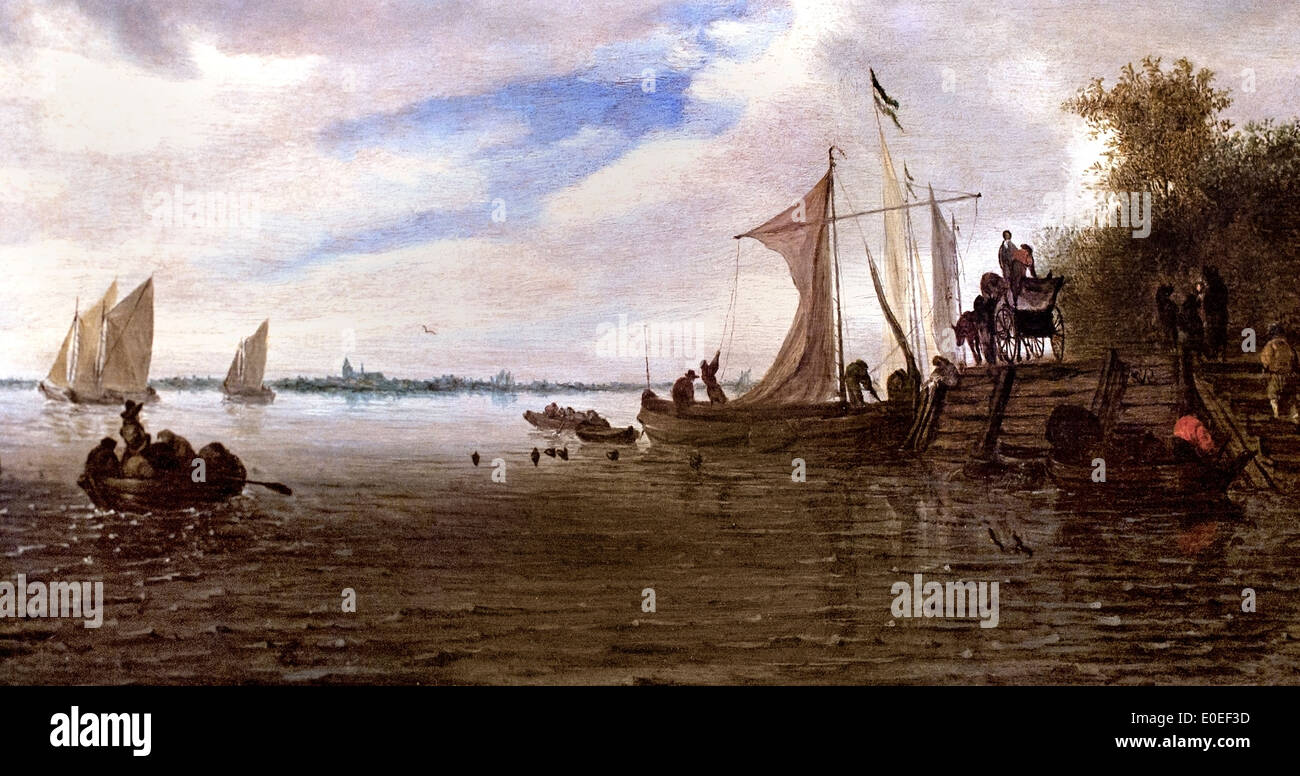 River Landscape with Figures and a Wagon on a Jetty with Sailing Boat Salomon Jacobsz. van Ruysdael 1600-1670 Dutch Stock Photo
