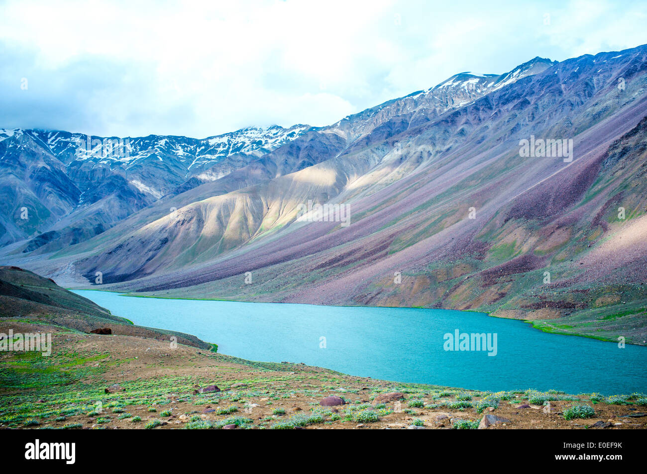 lake Chandra Taal Spiti Valley, Himachal Pradesh, India - Stock Image