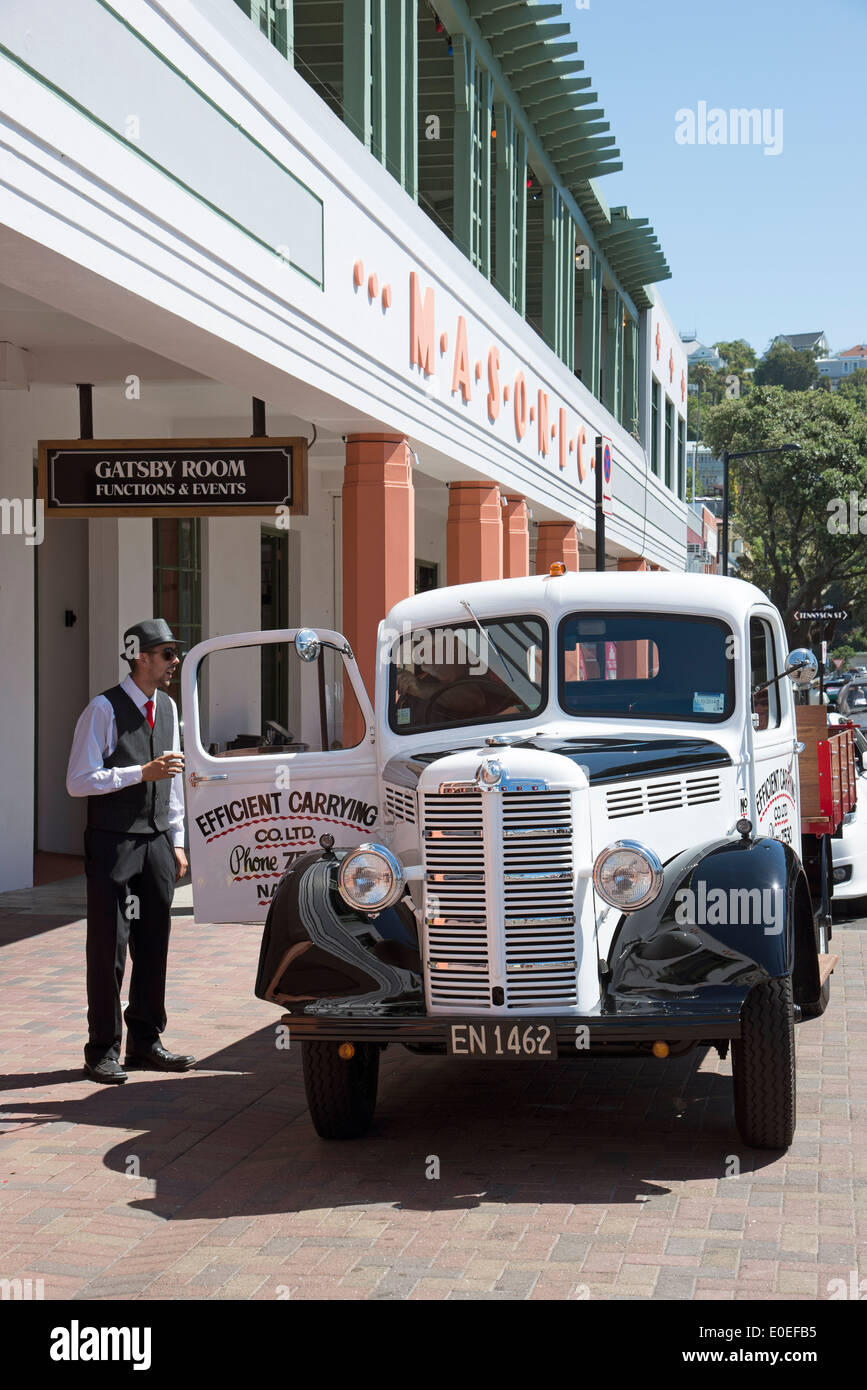 A Bedford vintage truck in Napier New Zealand Art Deco weekend festival - Stock Image