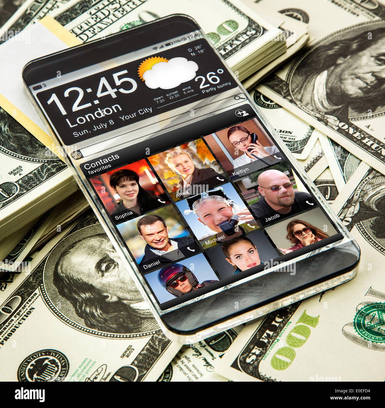 smartphone transparent futuristic clear mobile - Stock Image