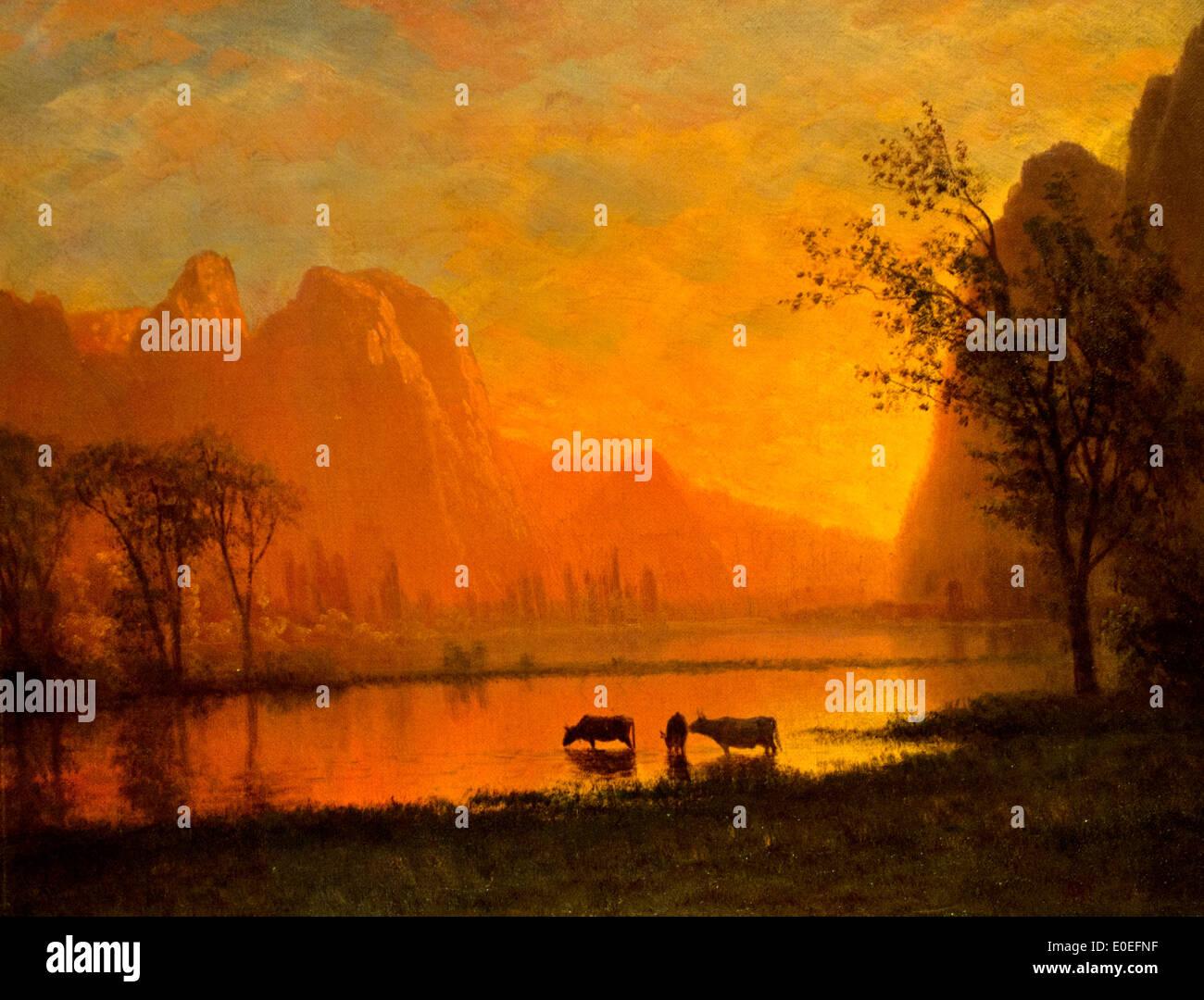 Sundown at Yosemite ca. 1863 Albert Bierstadt 1830-1902 German American Germany - Stock Image