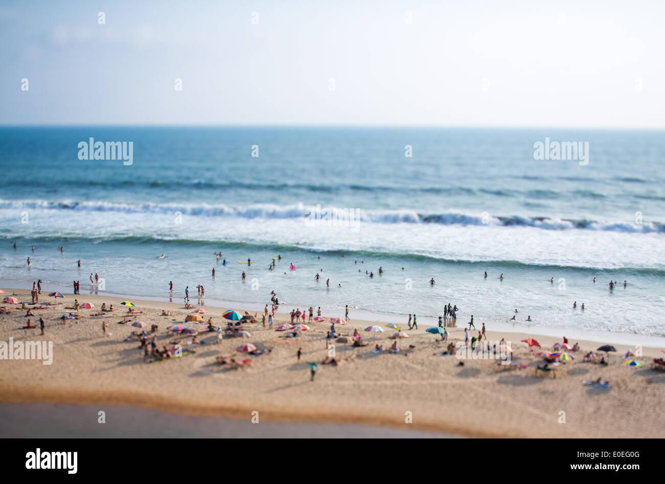 Timelapse Beach on the Indian Ocean. India (tilt shift lens). - Stock Image