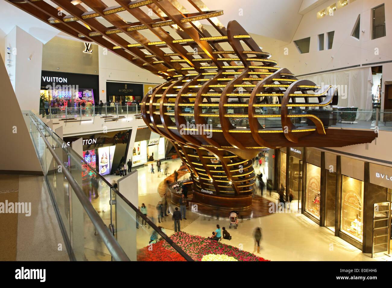 Interior of Crystal Shopping Mall, City Center, Las Vegas, Nevada USA - Stock Image
