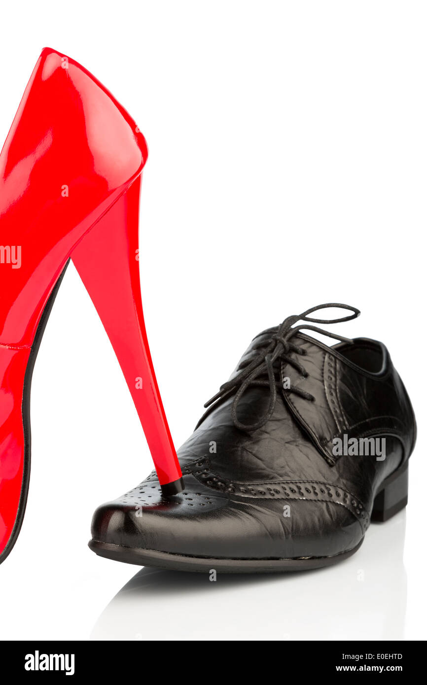 Ladies' shoe and man's shoe, symbolic photo for partnership and equal rights, Damenschuh und Herrenschuh, Symbolfoto fuer Partne - Stock Image